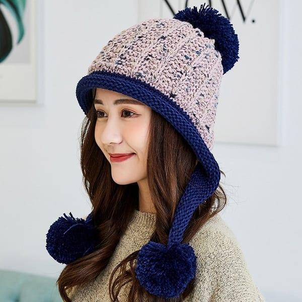Korean New Double Plus Fluffy Ball Wool Hat Women's Earmuffs Warm Knit Hat  - Overstock - 31152002