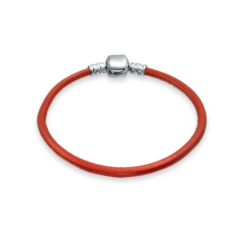 Bling Jewelry Red Leather 925 Sterling Silver Barrel Clasp Bracelet Charm Beads