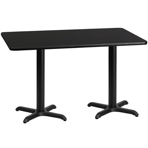 "Dyersburg 30'' x 60'' Rectangular Black Table Top w/30"" High X-Base"