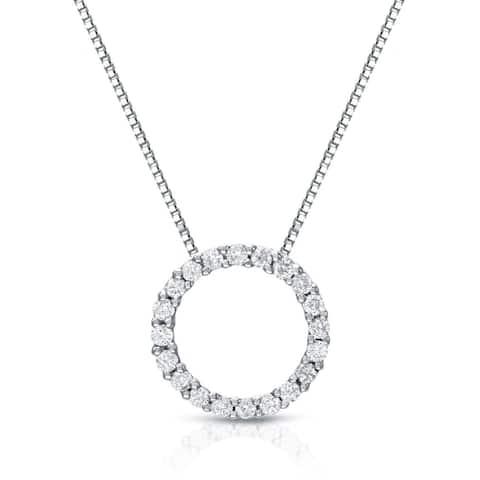 Auriya 0.15 to 1 1/2ctw Diamond Circle Necklace 14k White Gold