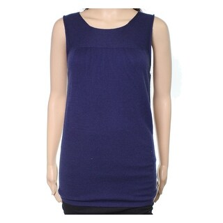 Escada NEW Navy Blue Womens Size Medium M Seamed Wool Knit Tank Top