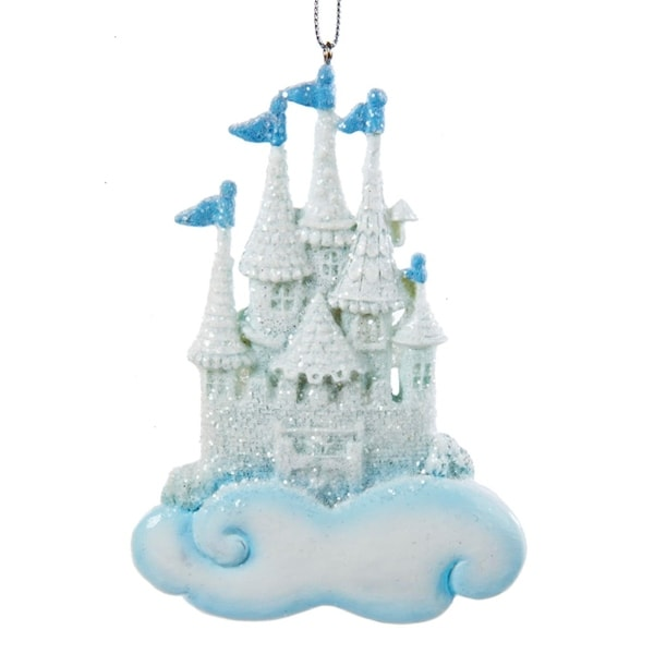 """4.25"""" Ice Palace Blue and Ivory Glittered Princess Castle Christmas Ornament for personalization"""