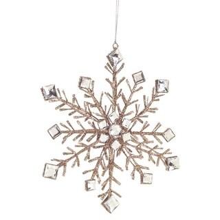 "10"" Luxury Lodge Champagne Glittered Snowflake Christmas Ornament"