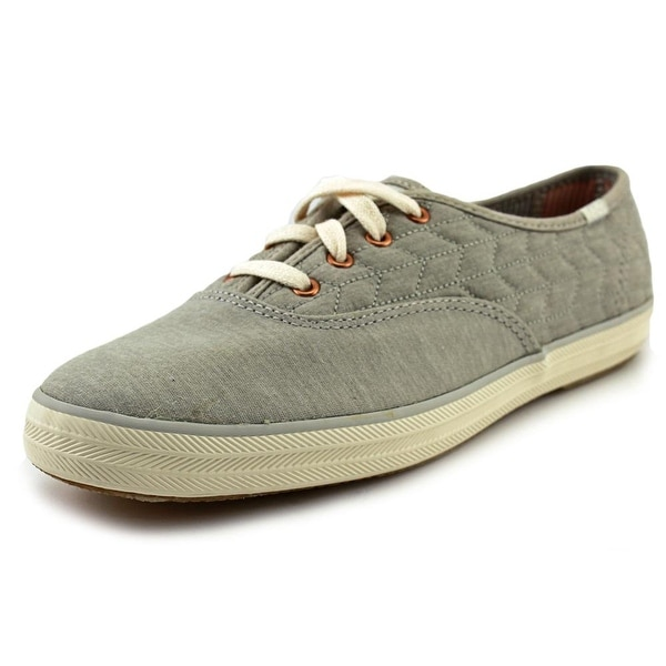 Keds Champion Quilt Jersey Women Round Toe Canvas Gray Sneakers