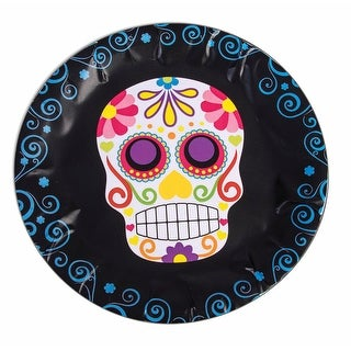 """Day Of The Dead 9"""" Round Disposable Plate 8 Pack - Black"""