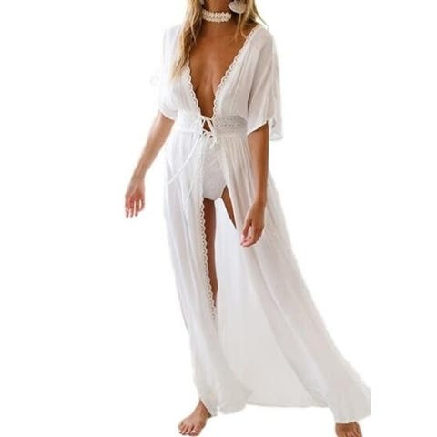 White Cover Up Maxi Dress