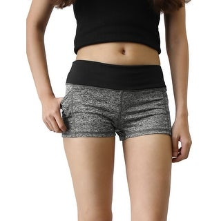 Ladies Black Gray Size M Dual Pockets Quick Dry Stretchy Skinny Gym Sport Shorts