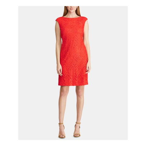 RALPH LAUREN Red Sleeveless Above The Knee Sheath Dress Size 0P