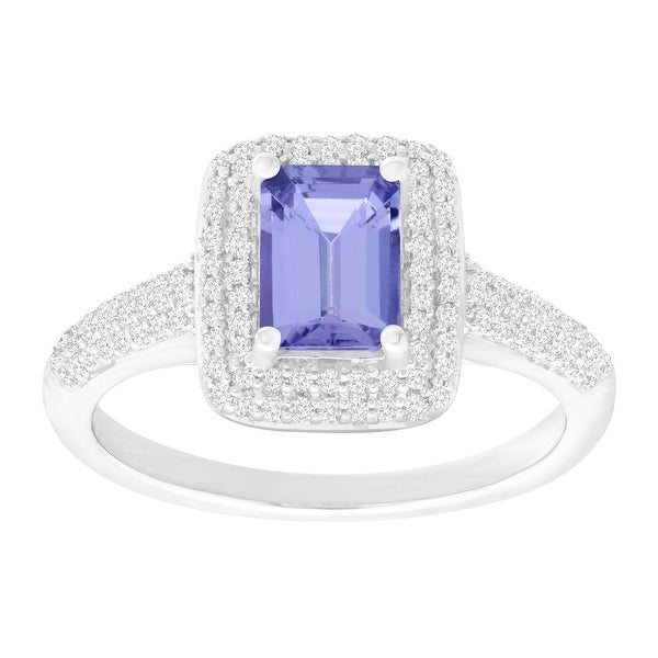 3/4 ct Natural Tanzanite & 1/3 ct Diamond Ring in 10K White Gold - Purple