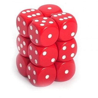Chessex - Opaque 16mm D6 Dice Blocks Red With White