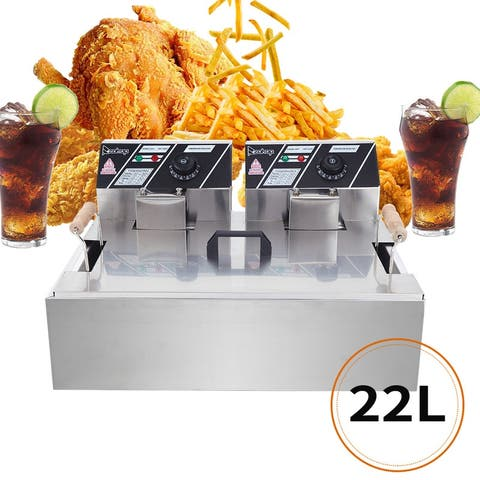 23.26Qt/22L Stainless Steel Large Single-Cylinder Electric Fryer