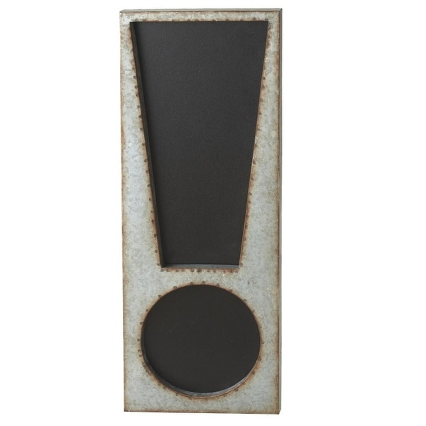 """24"""" Black and Gray Galvanized Metal Exclamation Chalk Board"""