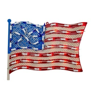 """Link to 14"""" Lighted Patriotic American Flag Window Silhouette Decoration Similar Items in Decorative Accessories"""
