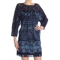 FREE PEOPLE Womens Navy Printed Lace Neckline Long Sleeve Jewel Neck Above The Knee Shift Dress  Size: XS