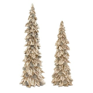 Pack of 2 Glittered Gold and Silver Holly Trees with Pine Cones Table Top Christmas Decorations 19""