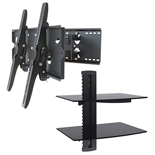 2xhome - NEW TV Wall Mount Bracket (Dual Arm) & Two (2) Double Shelf Package - Secure Cantilever LED LCD Plasma Smart 3D WiFi