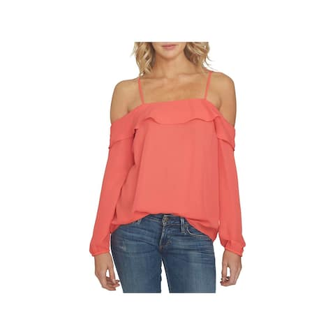 1.State Womens Blouse Fold-Over Cold Shoulder
