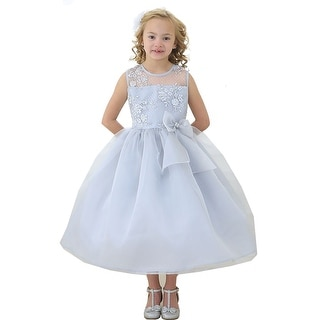 f54ba3c06 Shop Girls Silver Lace Top Ribbon Junior Bridesmaid Dress 8-12 - Free  Shipping Today - Overstock.com - 18175315