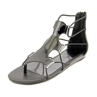 Very Volatile Womens Aubrey Leather Open Toe Casual Ankle Strap Black Size 70