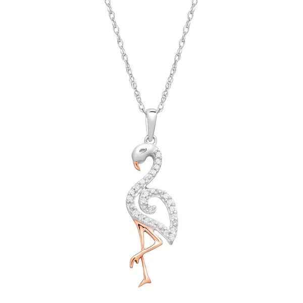 5e9d903d0125a Shop Diamond Flamingo Pendant in 10k Two-Tone Gold (1/10 cttw, J-K ...