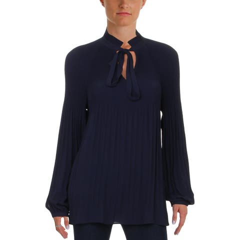 Lauren Ralph Lauren Womens Blouse Accordian Pleated Long Sleeves