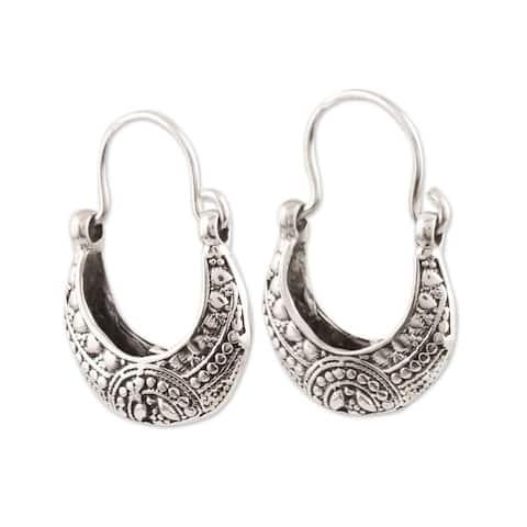 NOVICA Mystic Cradle, Sterling silver hoop earrings