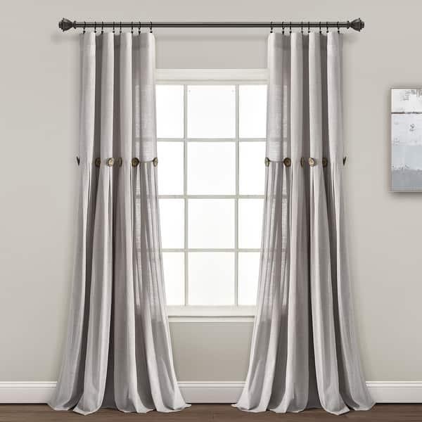 Lush Decor Linen Button Single Panel Window Curtain On Sale Overstock 28236672
