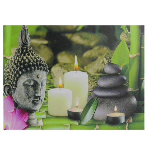 """LED Lighted Buddha and Bamboo Canvas Wall Art 12"""" x 15.75"""" - Multi"""