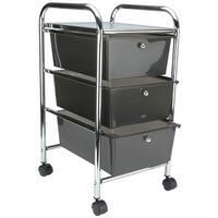 """Storage Studios Home Center Rolling Cart W/3 Drawers-15.25""""X26""""X13"""" Smoke"""