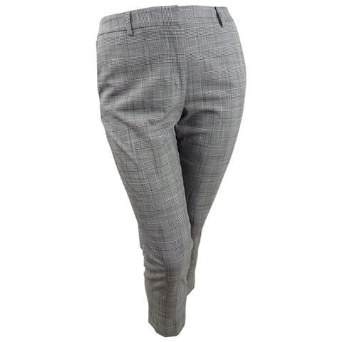DKNY Women's Plaid Fixed-Waist Skinny Pants (10, Grey Combo) - 10
