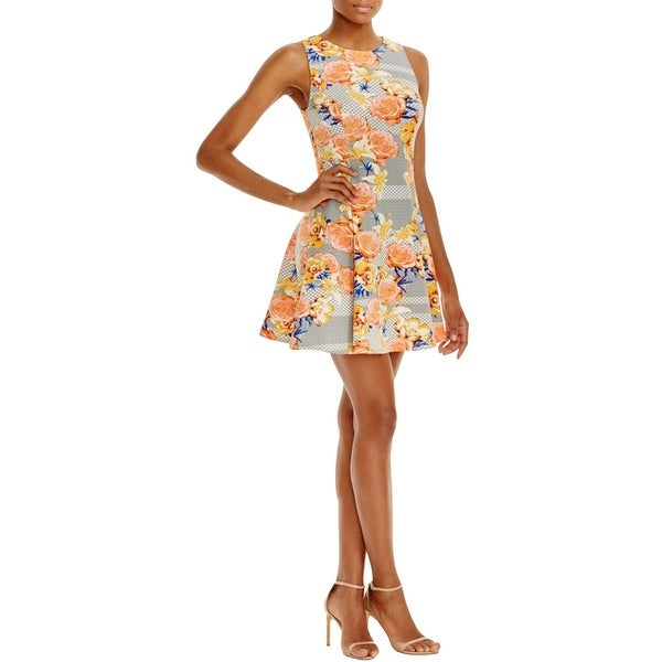 Aqua Womens Carolina Casual Dress Floral Print Pleated