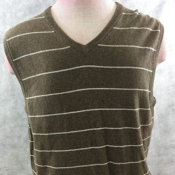 Shop J Crew Sweater Vest Size L Brown Striped Mens Cashmere Blend