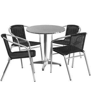 Skovde 5pcs Round 27.5'' Aluminum Table w/4 Black Rattan Chairs
