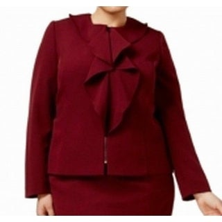 Tahari NEW Red Womens Size 20W Plus Ruffle-Front Front-Zip Jacket