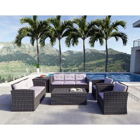6-piece Patio Sofa Set Wicker Outdoor Seating Furniture by Moda Furnishings