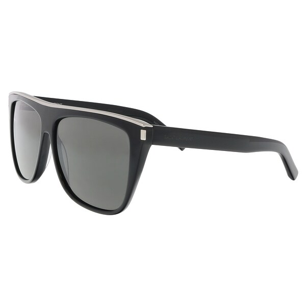 Shop Saint Laurent SL 1 COMBI-001 Grey Rectangle Sunglasses - 59-13 ... b1fac89be5b9
