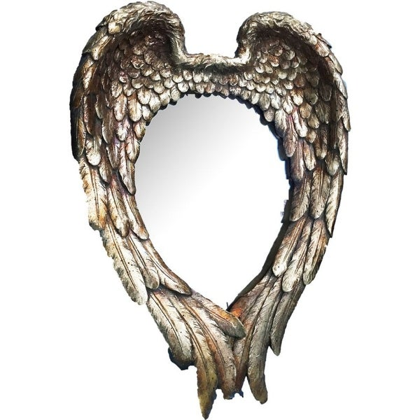 """22.25"""" Gold Classic Vintage Style Heart Shaped Angel Wing Wall Mirror - N/A"""