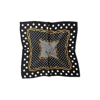 Link to Women Fashionable  Print 100% Silk Square Scarf - Black Dots Similar Items in Scarves & Wraps