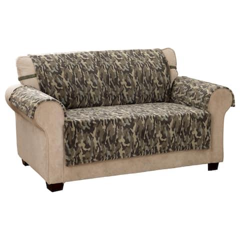 Camo Plush Olive Loveseat Furniture Cover