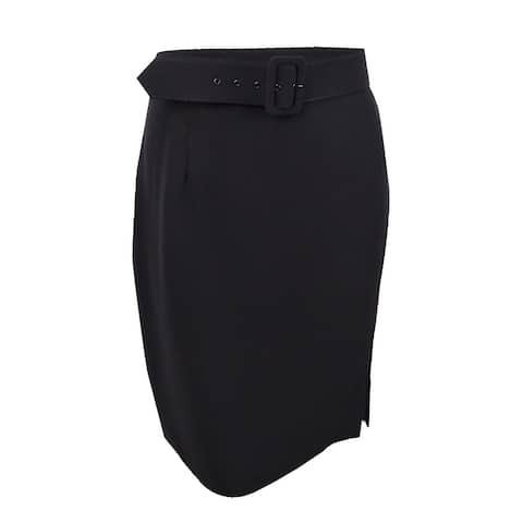 Tahari ASL Women's Belted Pencil Skirt (14, Black) - Black - 14