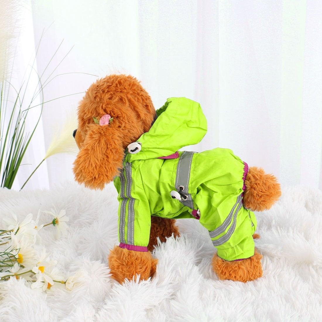 Pet Dog Raincoat Rain Jacket Poncho Clothes Polyester Puppy Water-resistant (Fuchsia - XS)