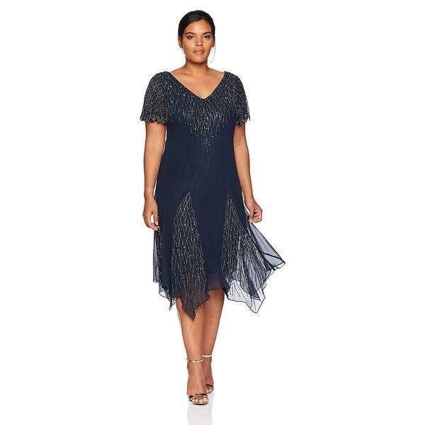 J Kara Women\'s Plus Size Short Beaded Dress, Navy/Gun, 14W, Navy/Gun, Size  14W