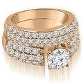 3.05 cttw. 14K Rose Gold Three Row Round Cut Diamond Bridal Set - Thumbnail 0