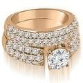 3.30 cttw. 14K Rose Gold Three Row Round Cut Diamond Bridal Set - Thumbnail 0