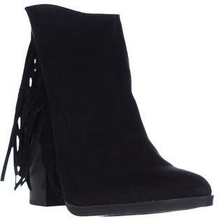 madden girl Shaare Side Fringe Western Boots - Black
