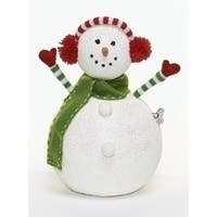 "12"" Vibrantly Colored Animated and Musical Snowman with Earmuffs Christmas Figure - WHITE"