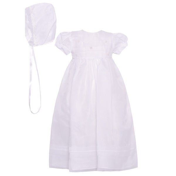The Children's Hour Baby Girls White Floral Accents Baptism Bonnet Dress