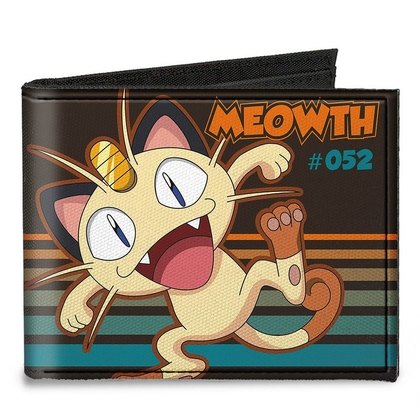 Meowth #052 Pose Stripe Brown Orange Turquoise Fade Canvas Bi Fold Wallet One Size - One Size Fits most