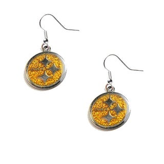 Pittsburgh Steelers Gold Glitter Sparkle Dangle Logo Earring Set Charm Gift NFL