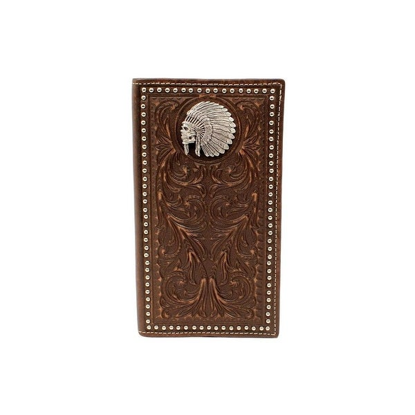 Ariat Western Wallet Mens Rodeo Indian Chief Skull Brown - 6 1/2 x 3 1/2